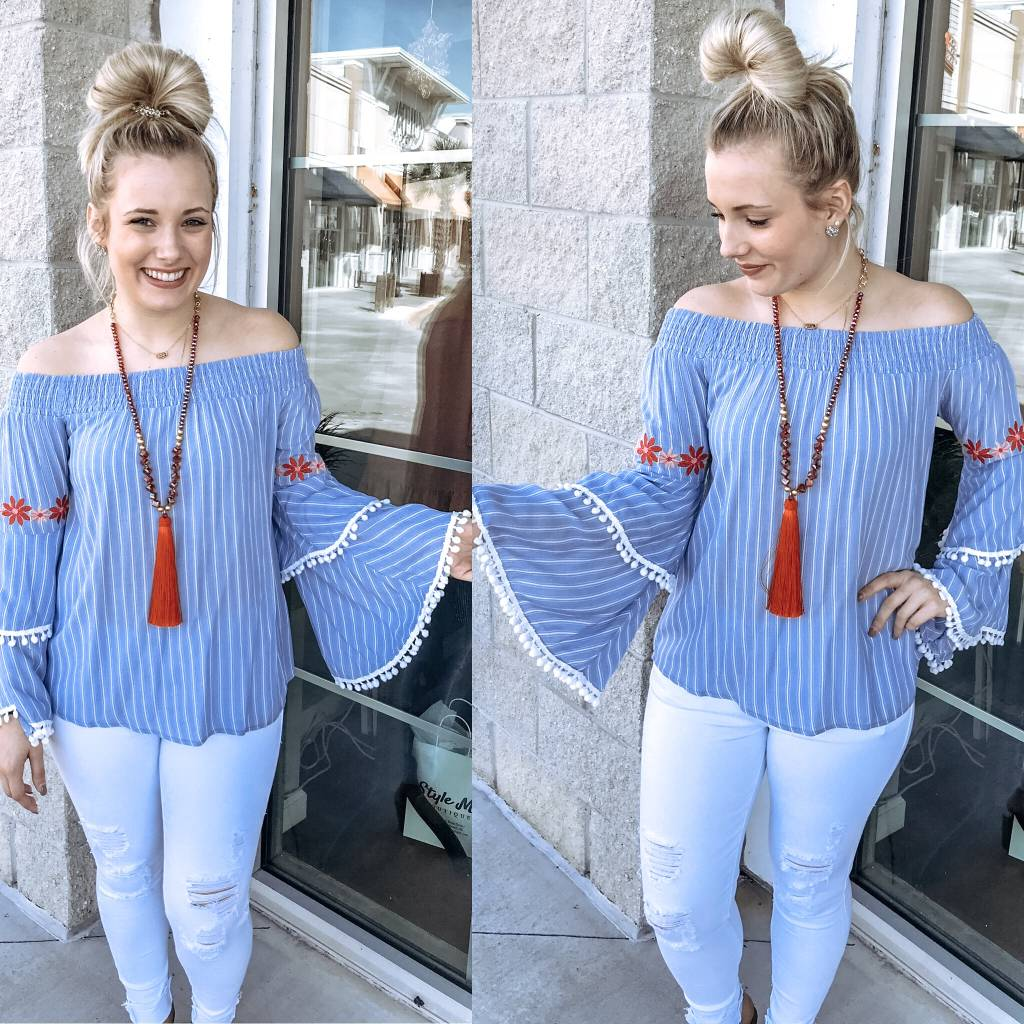 Striped Embroidery Detail Top - Blue