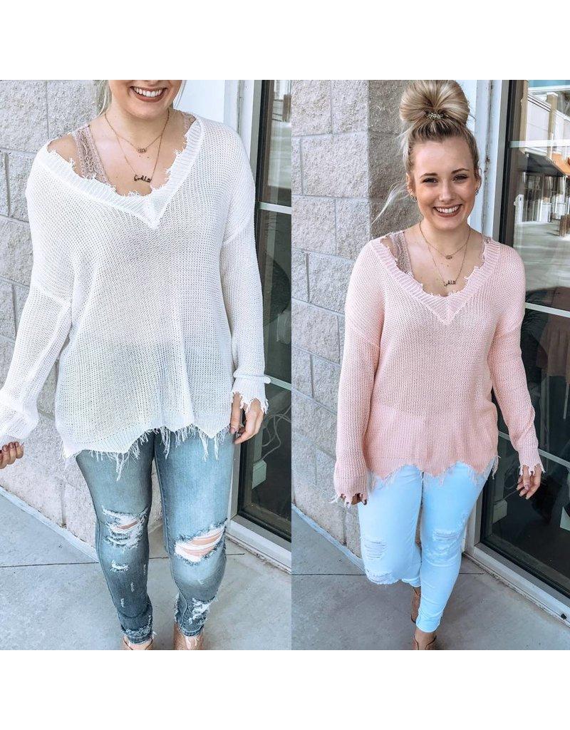 Main Strip Lightweight  Frayed Sweater