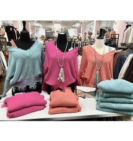 Main Strip Frayed Sweater