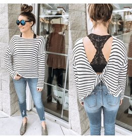 Striped Open Back Sweater - Black