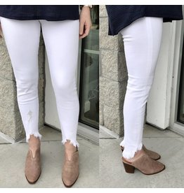 Frayed Bottom Jeans - White