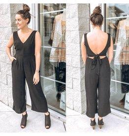 WL18-1607 Open Back Jumpsuit - Black