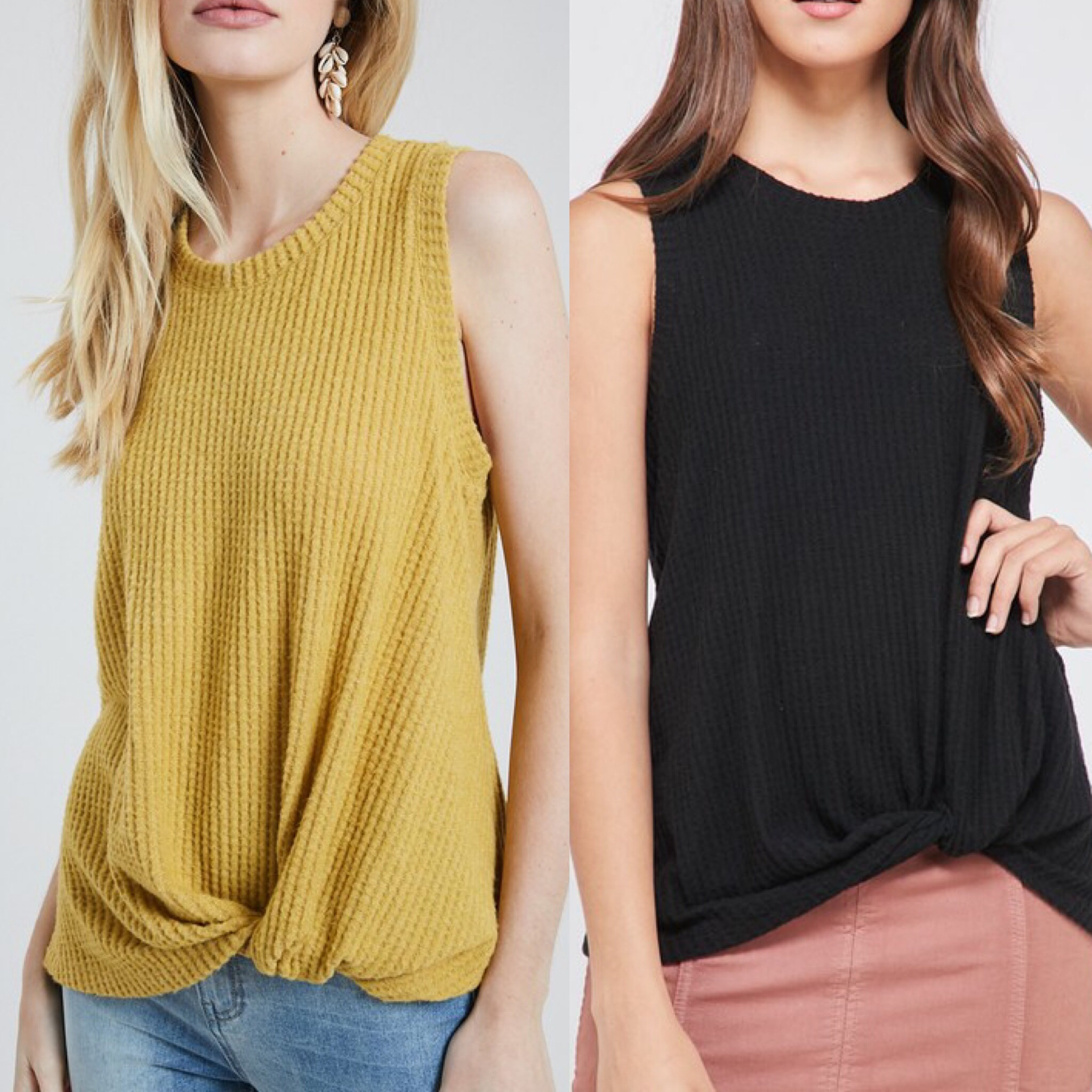 Waffle Twisted Detail Top