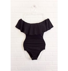 Envya Off Shoulders One Piece Swimsuit - Black
