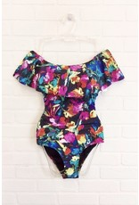 Multi Floral One Piece Swimsuit - Black