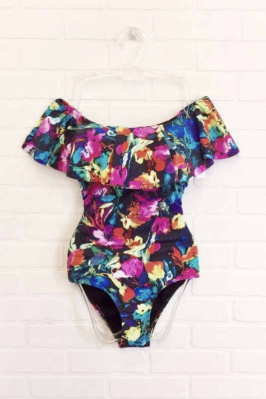 Envya Multi Floral One Piece Swimsuit - Black