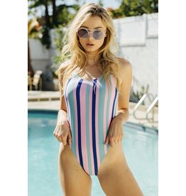 Striped One Piece Swimsuit - Multi