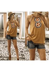Embroidery Detail Boho Top - Mustard