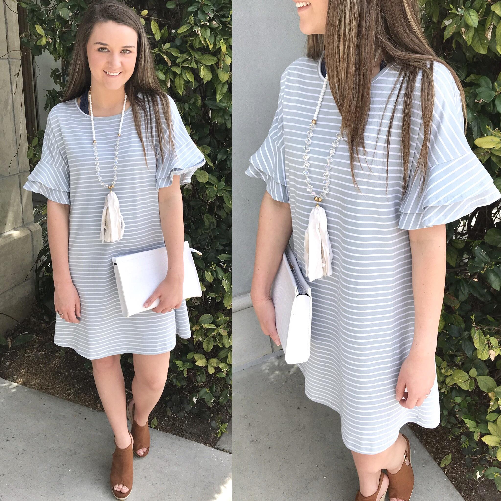 Ruffle Sleeves Striped Dress - MISTY BLUE