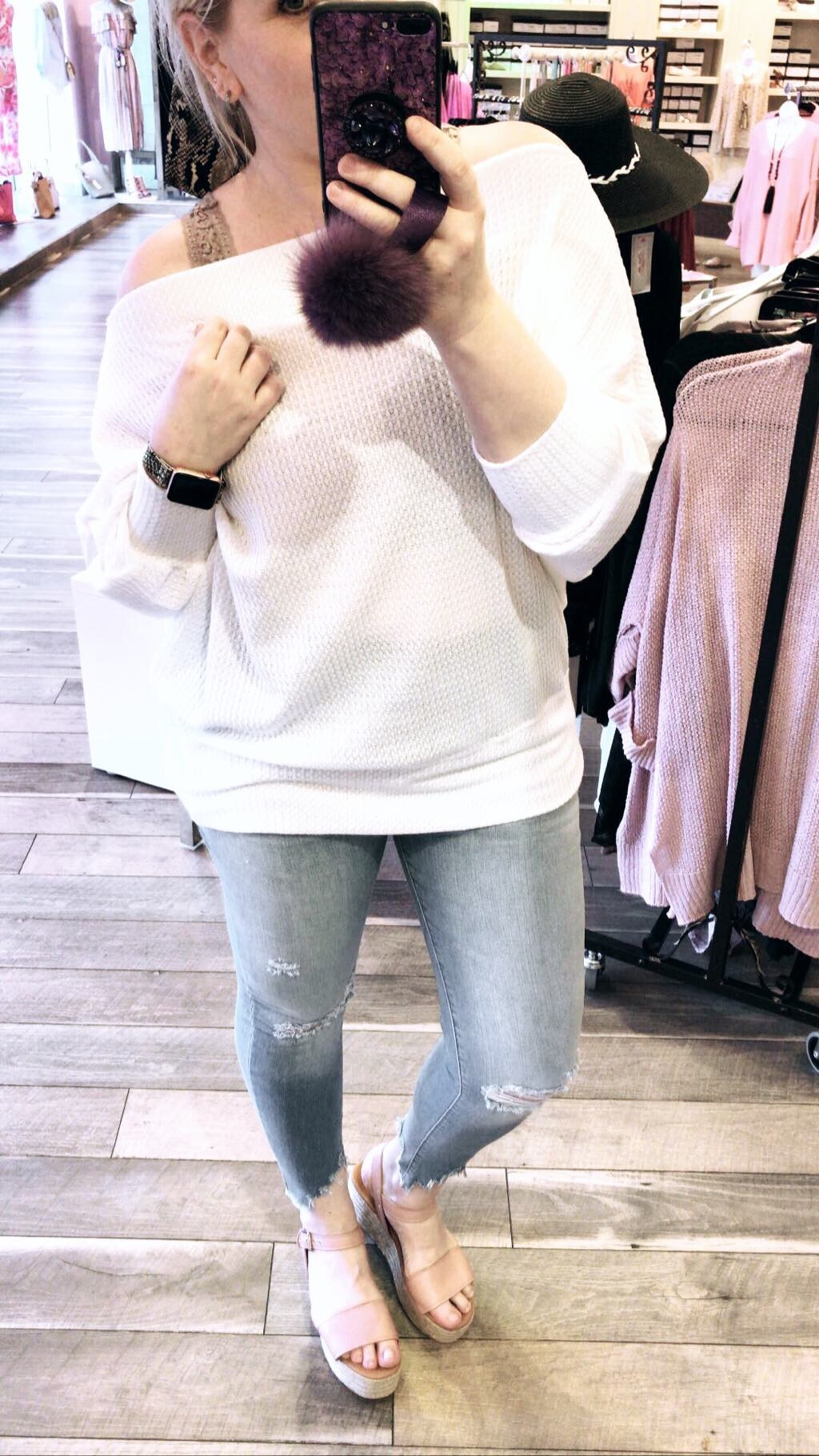 Oversized Thermal Top - Off White