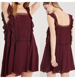 Crochet Detail Boho Dress - Wine