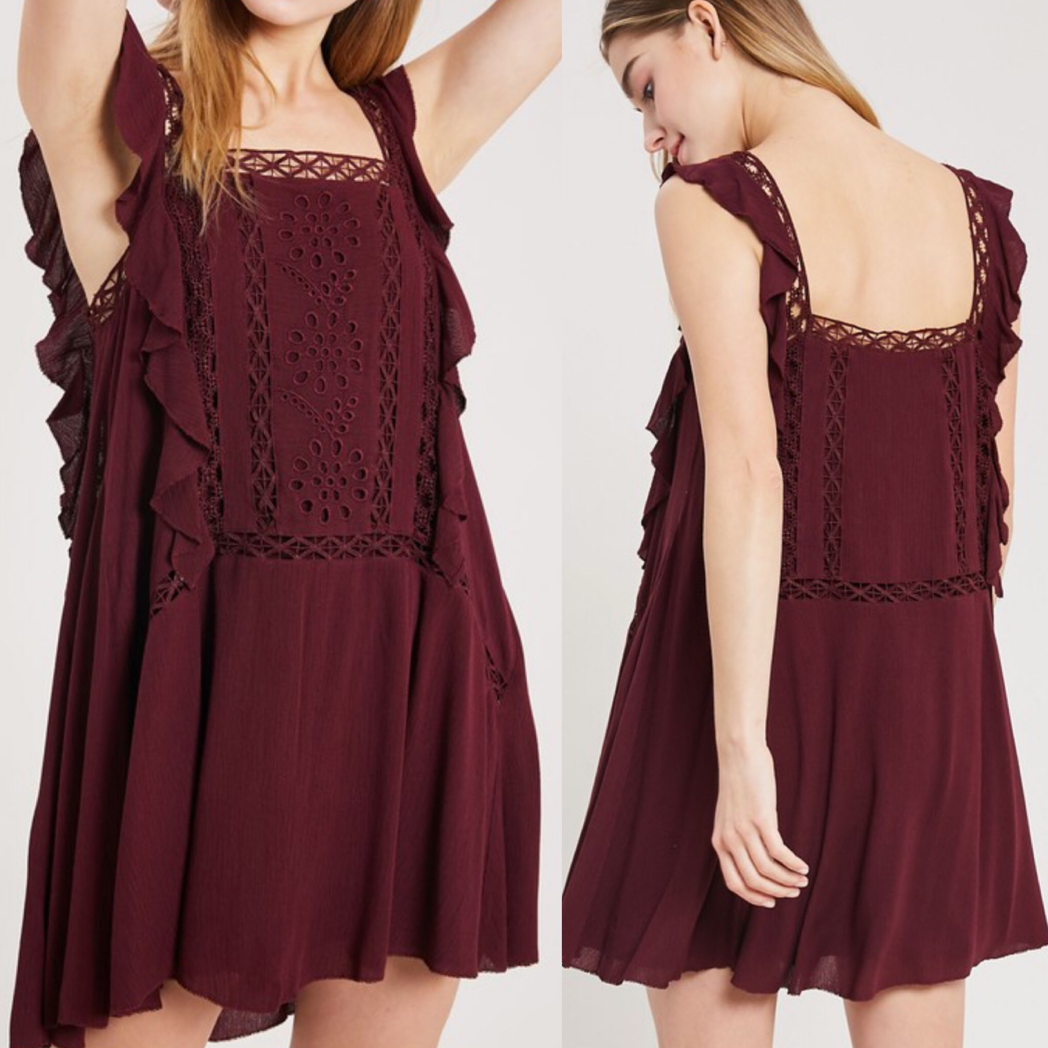 Crochet Detail Boho Dress - Wine