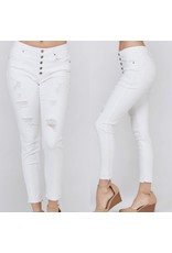 Button Distressed Jeans - White