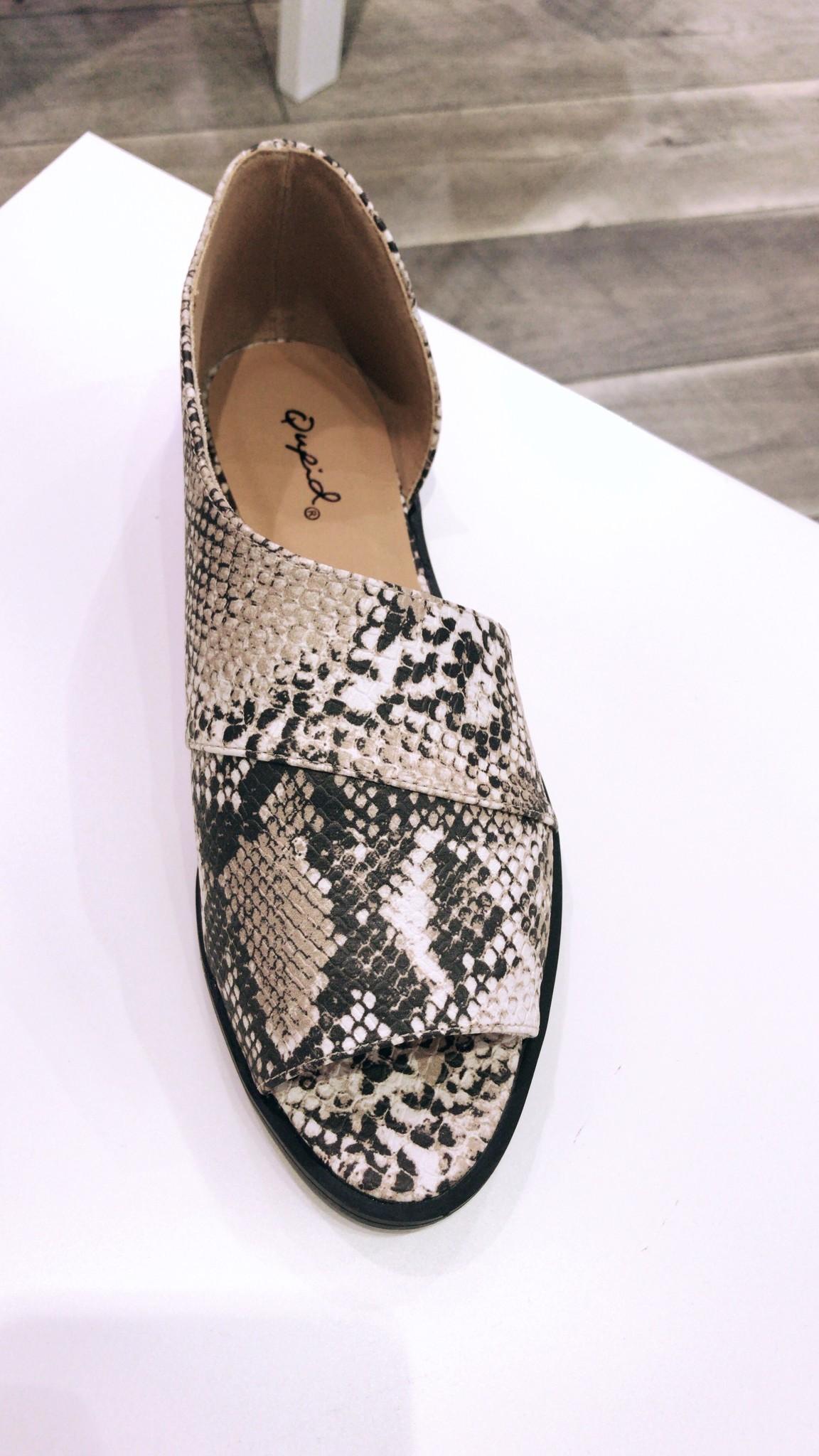 Qupid Snake Skin Sandals