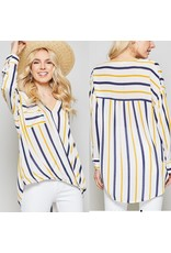 Twisted Front Striped Shirt - Navy