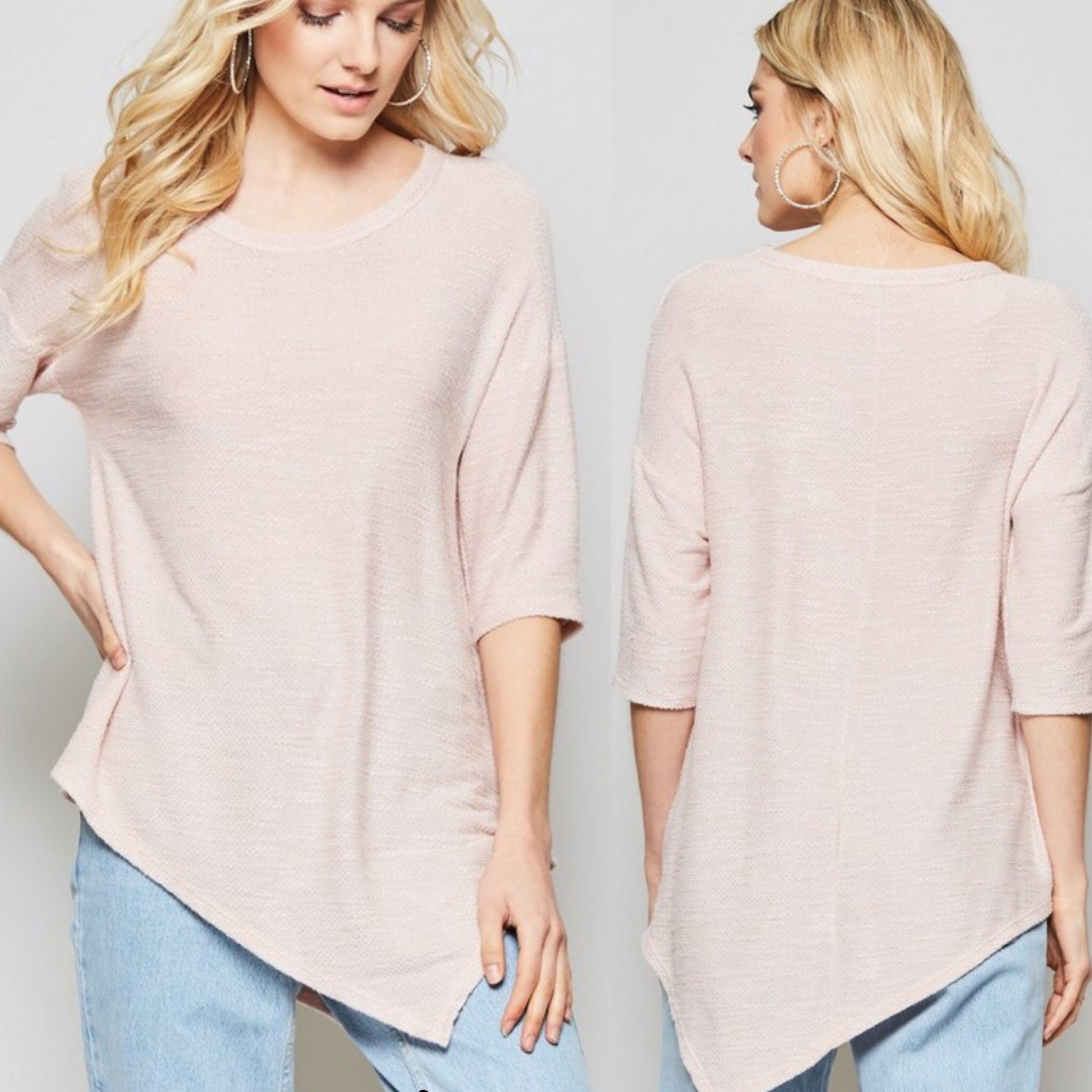 Assymetrical Hem Top - Peach