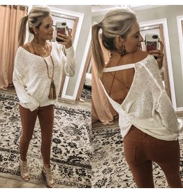 Open Back Lightweight Sweater - Ivory