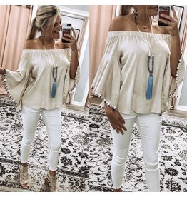 Tassel Trim Off Shoulders Top - Natural