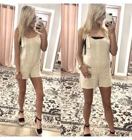 Button Up Romper - Oatmeal