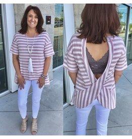 Striped Open Back Tee - Blush