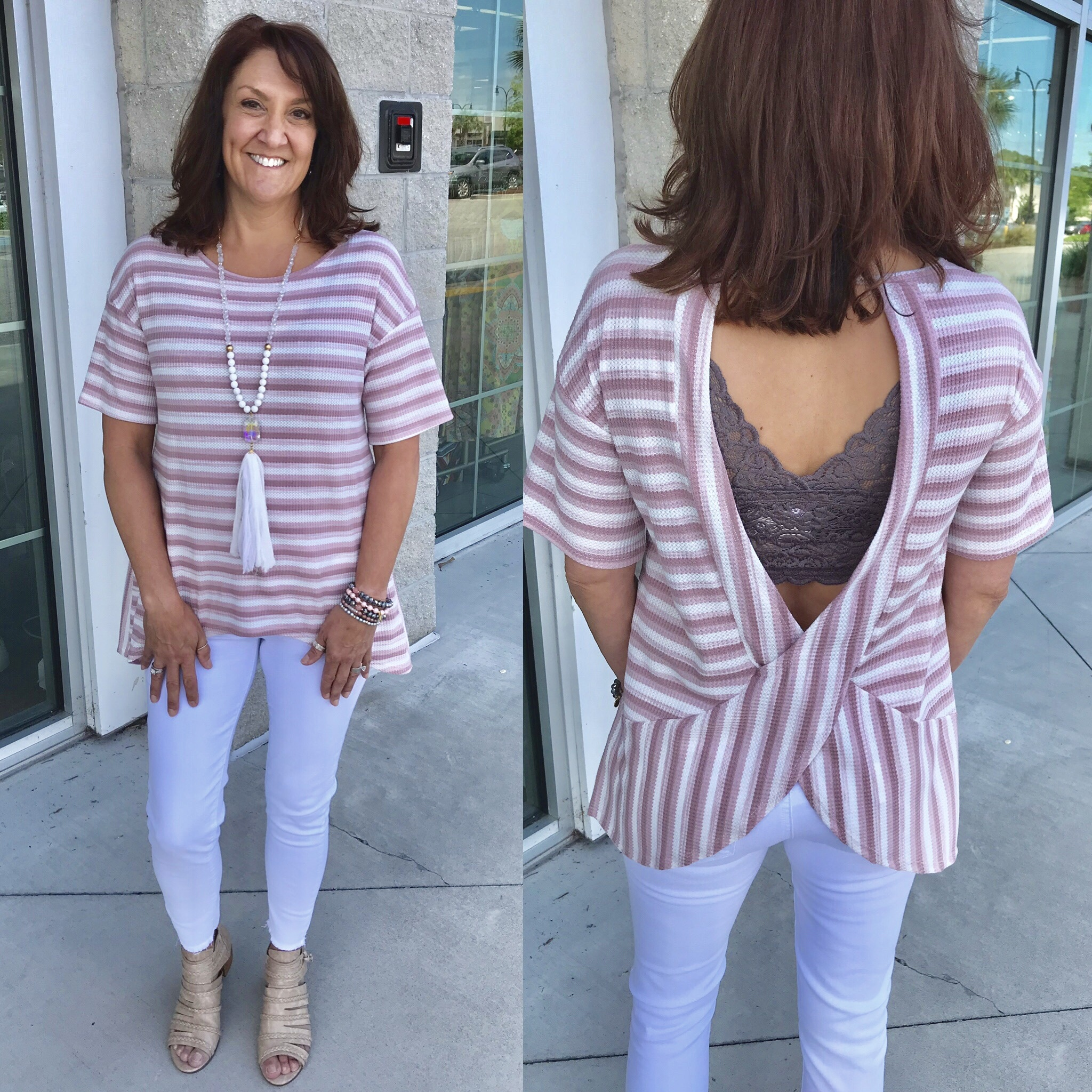 Striped Open Back Tee - Blush
