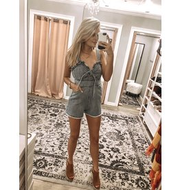 BlueBlush Front Tie Denim Romper - Denim
