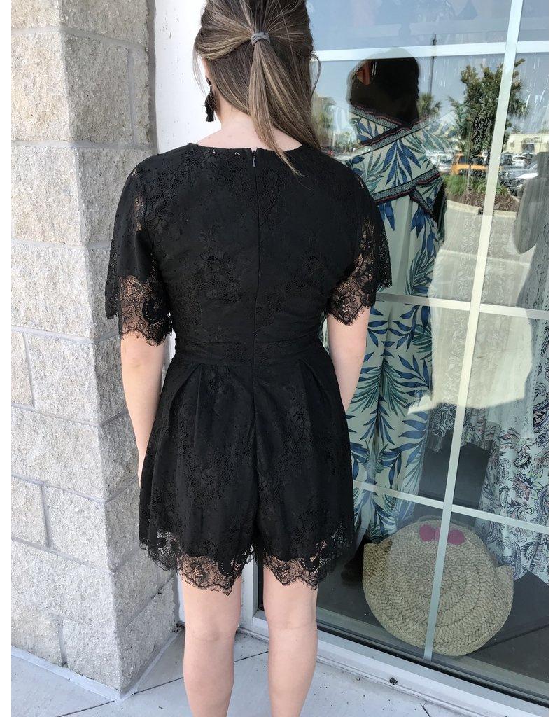 Floral Lace Romper - Black