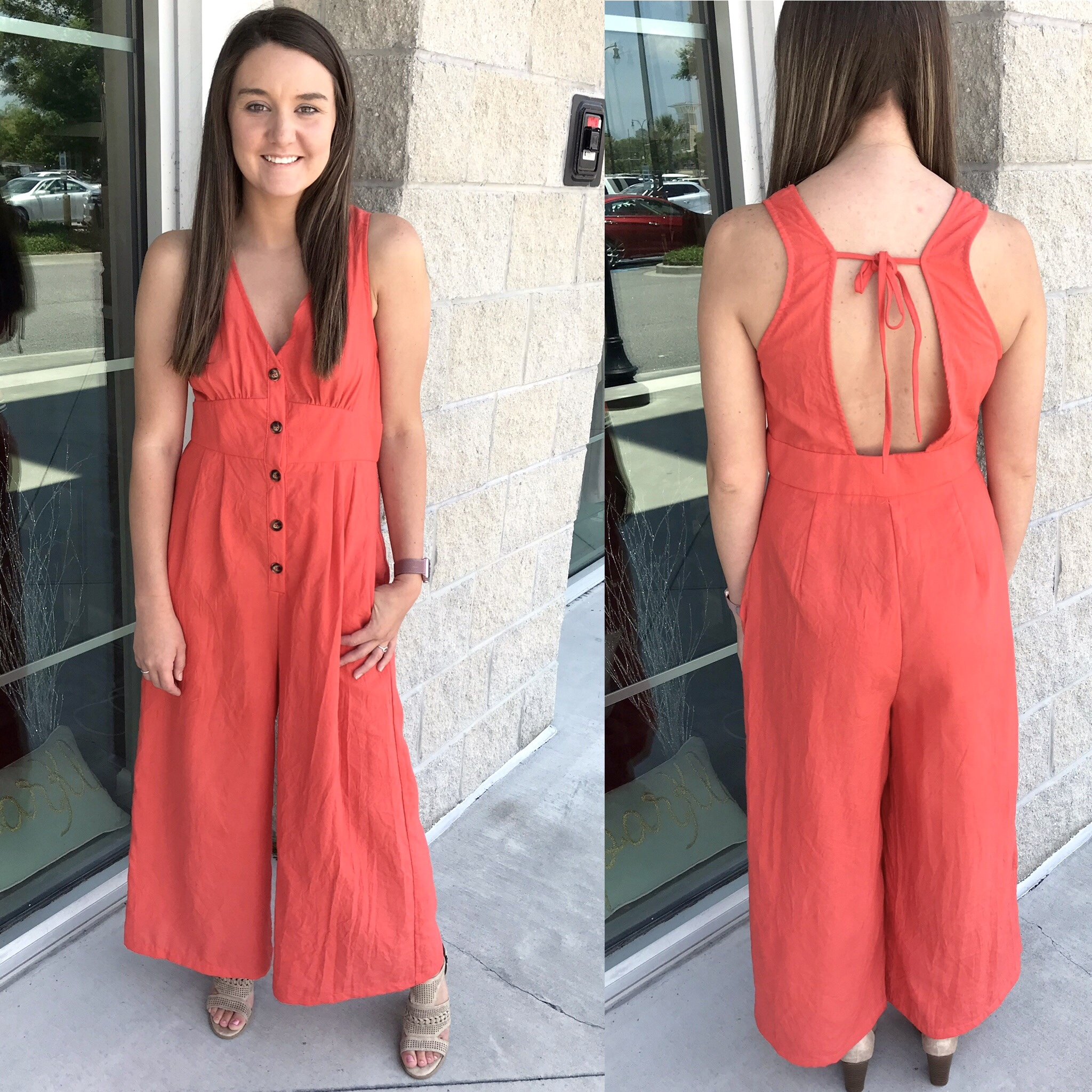 Button Down Jumpsuit - Coral
