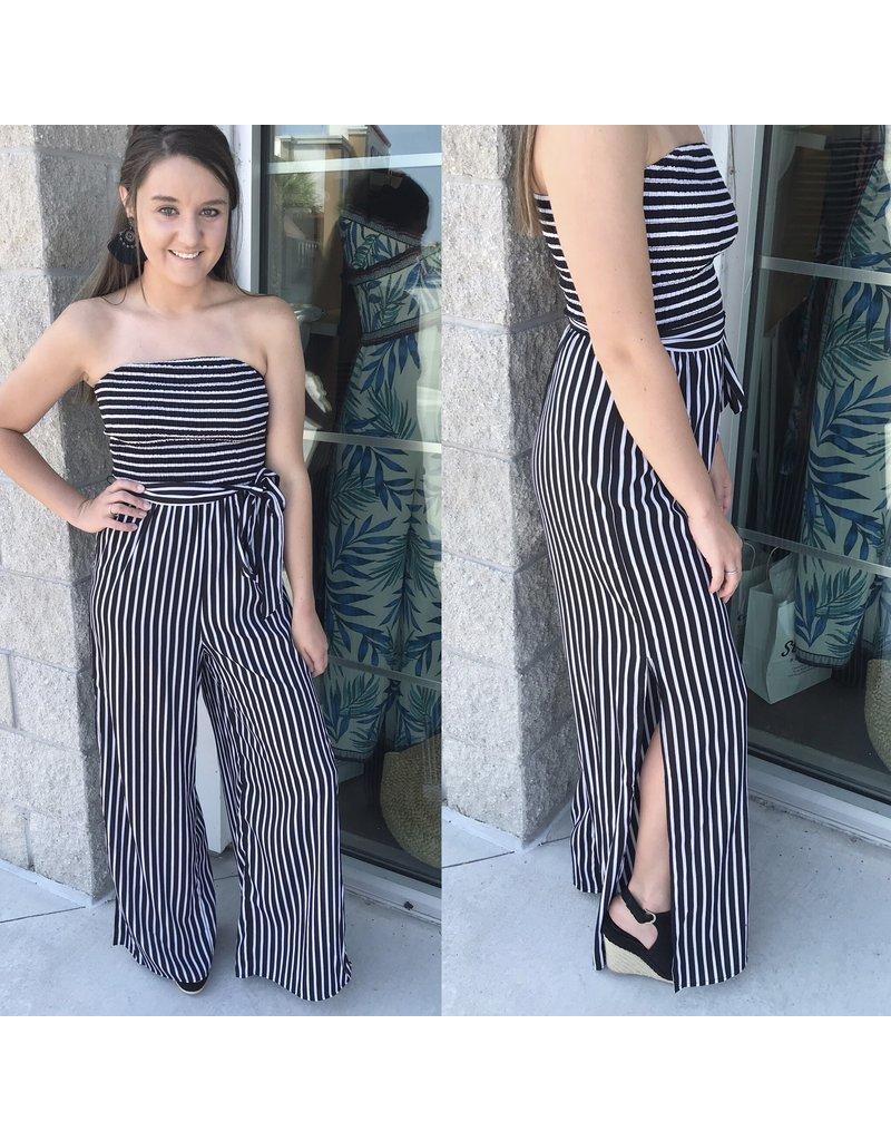 Striped Off Shoulders Jumpsuit - Black