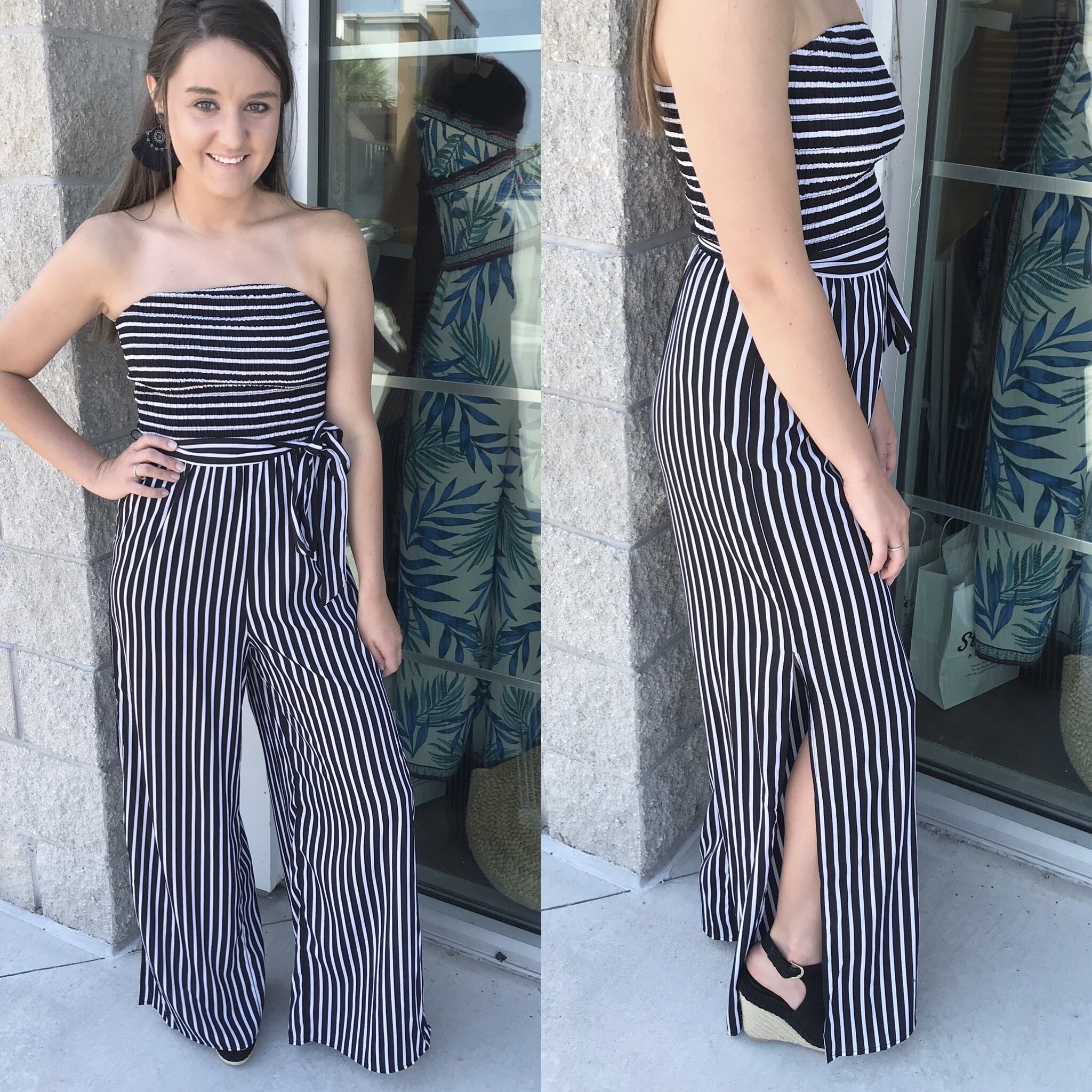 Striped Off Shoulders Jumpsuit - Black