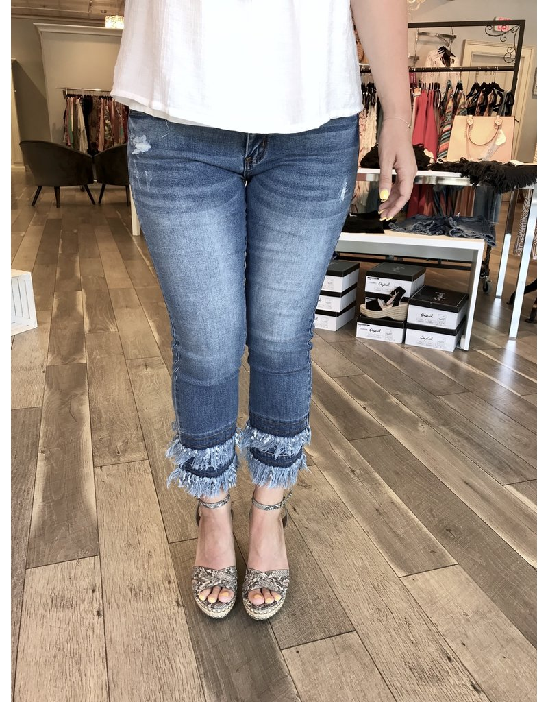 Double Frayed Mid Rise Jeans