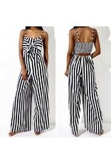 Striped Open Back Jumpsuit - Black