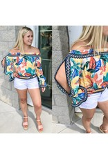 Off Shoulder Tropical Print Top - Off White
