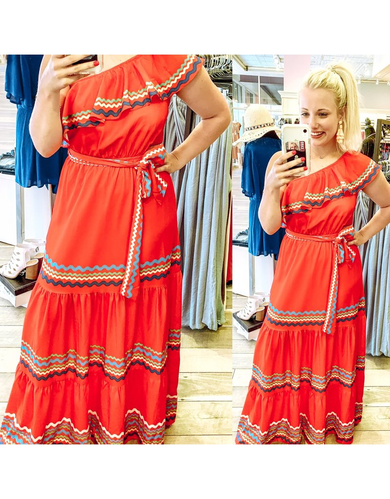 One Shoulder Maxi Dress - Red