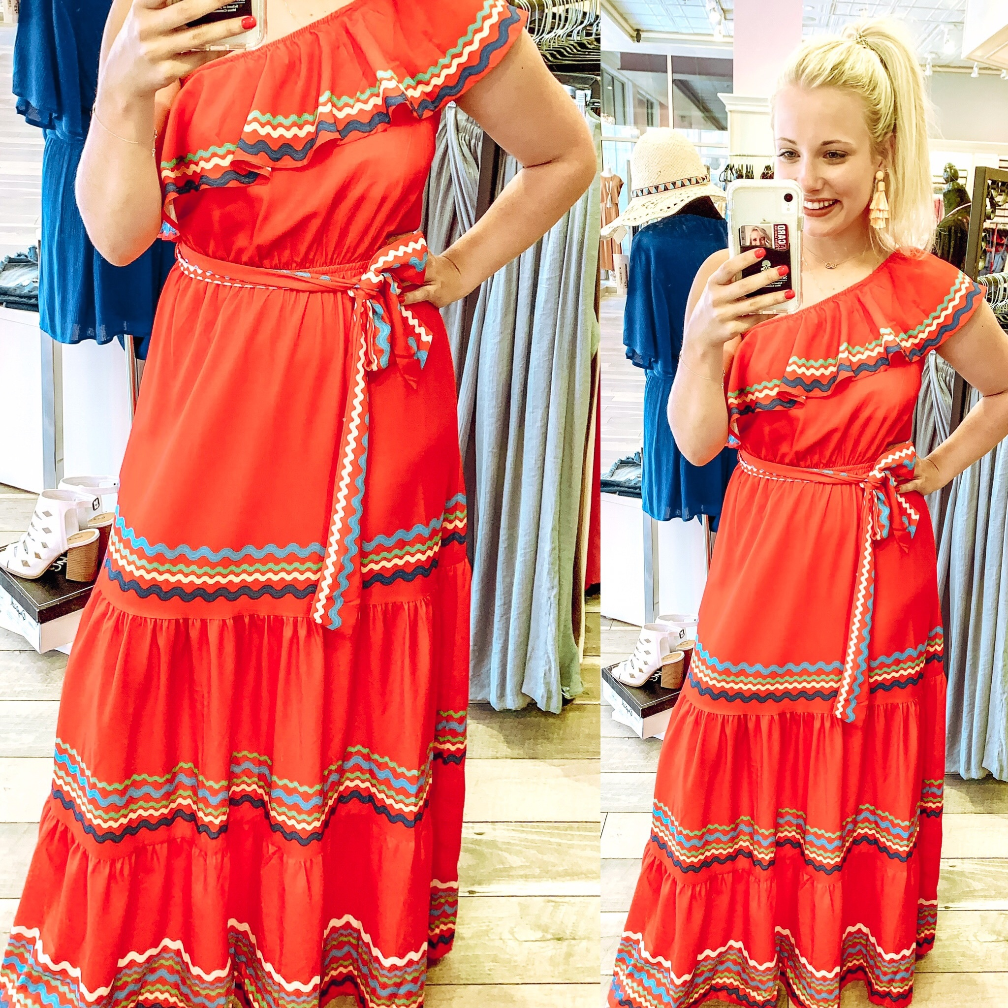 One Shoulder Maxi Dress - Red
