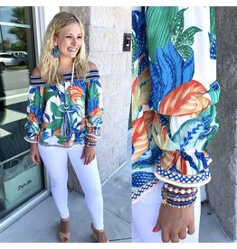 Off Shoulders Tropical Print Top - Off White
