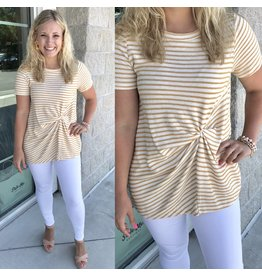 Twisted Front Striped Tee - Mustard