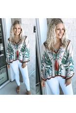 Tropical Print Kimono Top - Green