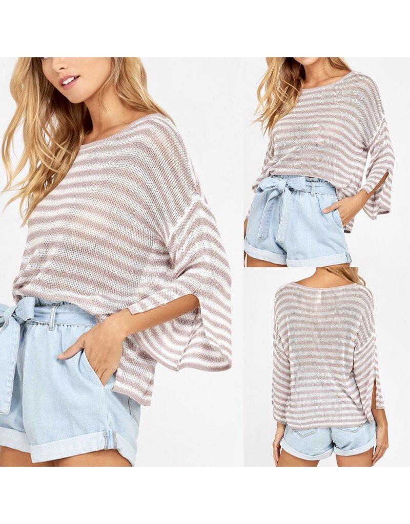 Striped Sweater - Blush