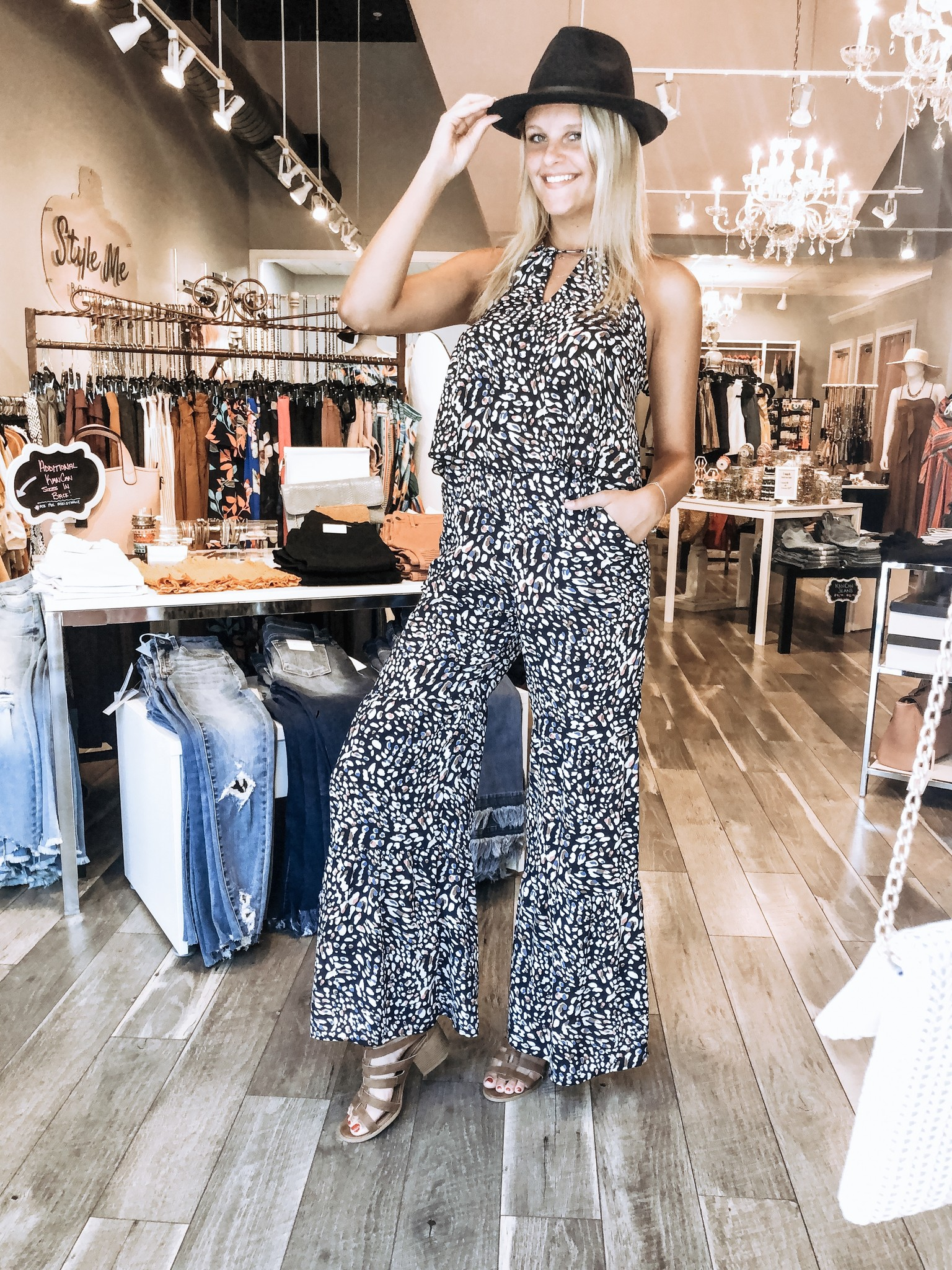 Animal Print Bell Bottoms Jumpsuit - Navy