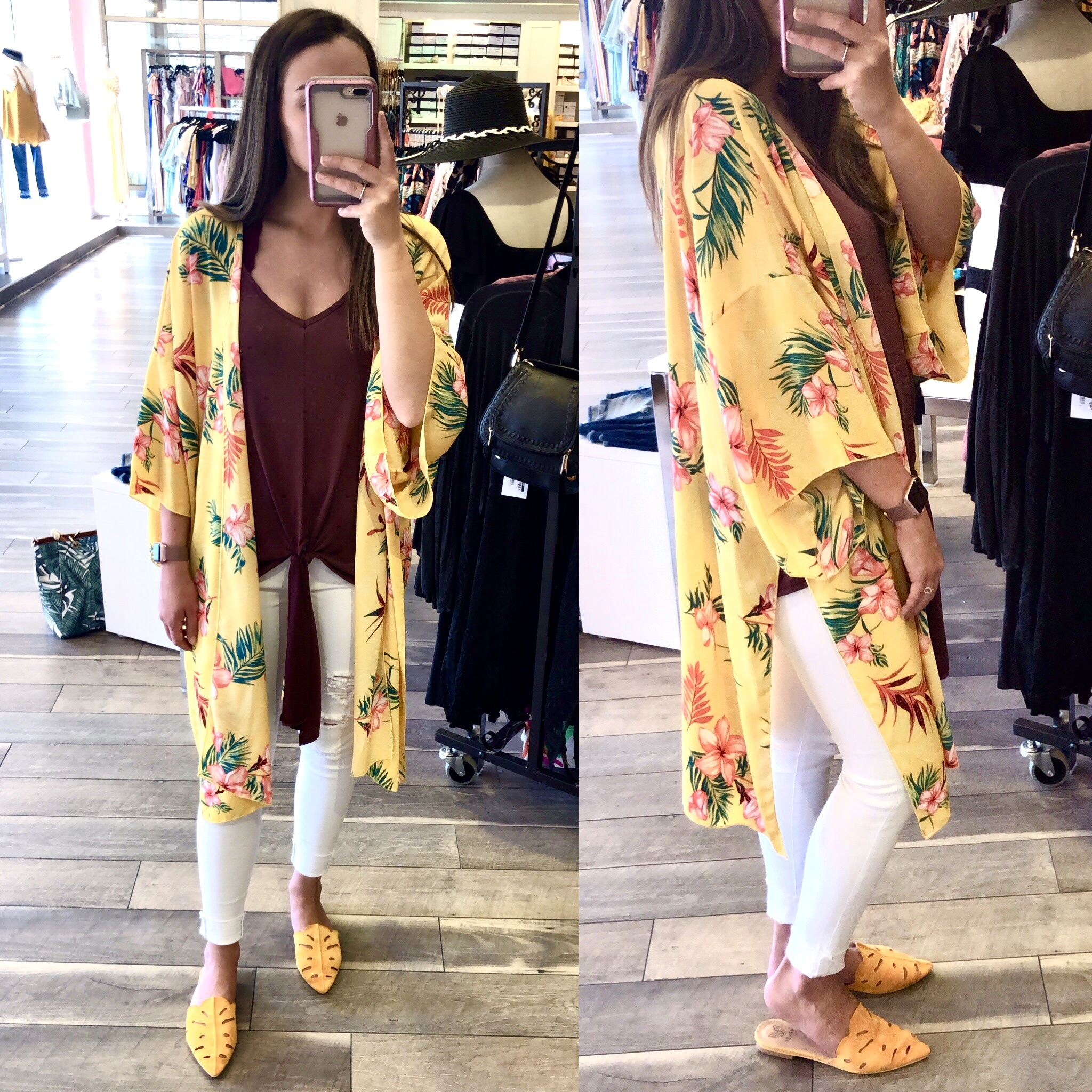 VineLove Tropical Floral Kimono