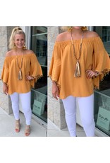 Tassel Trim Off Shoulders Top - Mustard