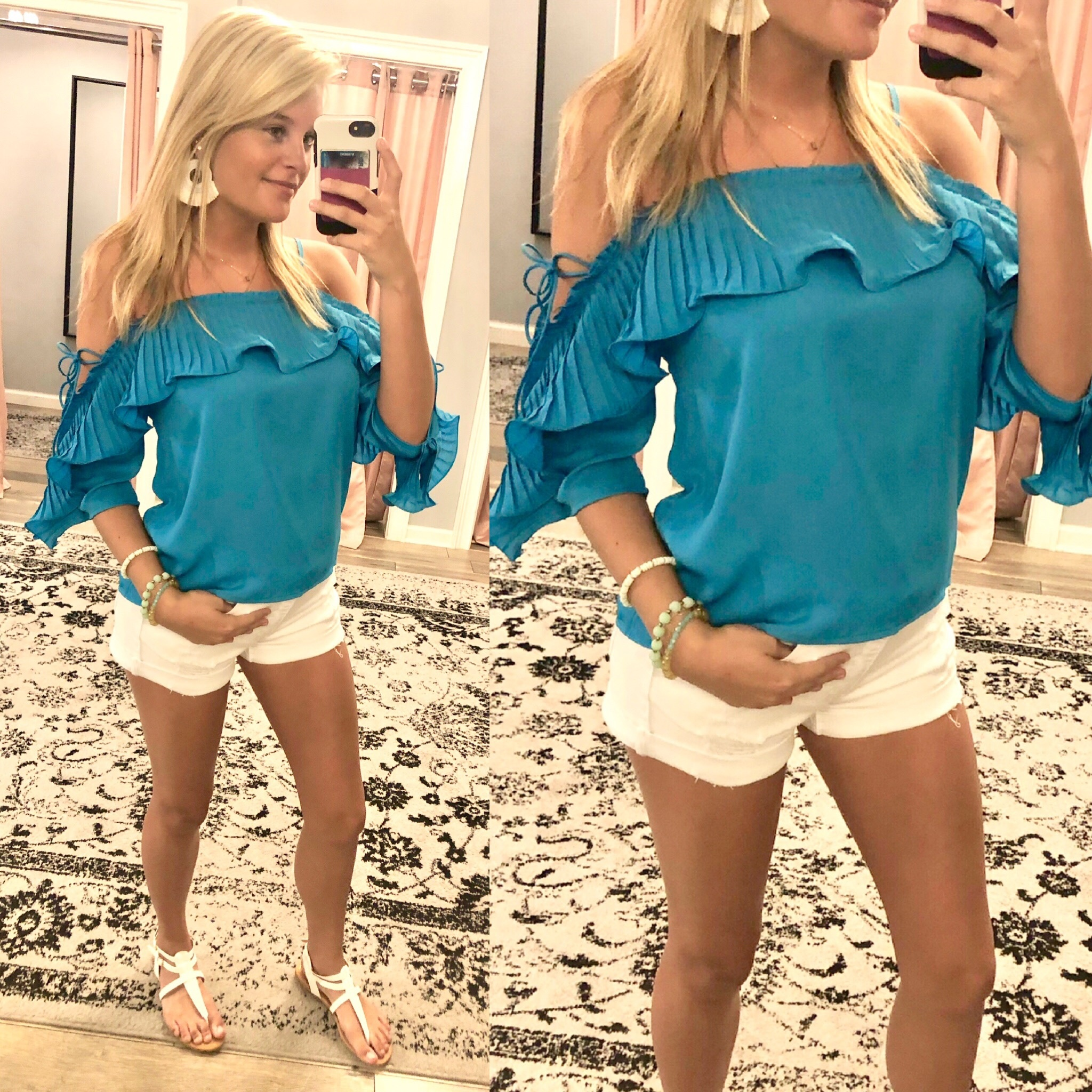 Pleated Detail Cold Shoulder Top - Turquoise