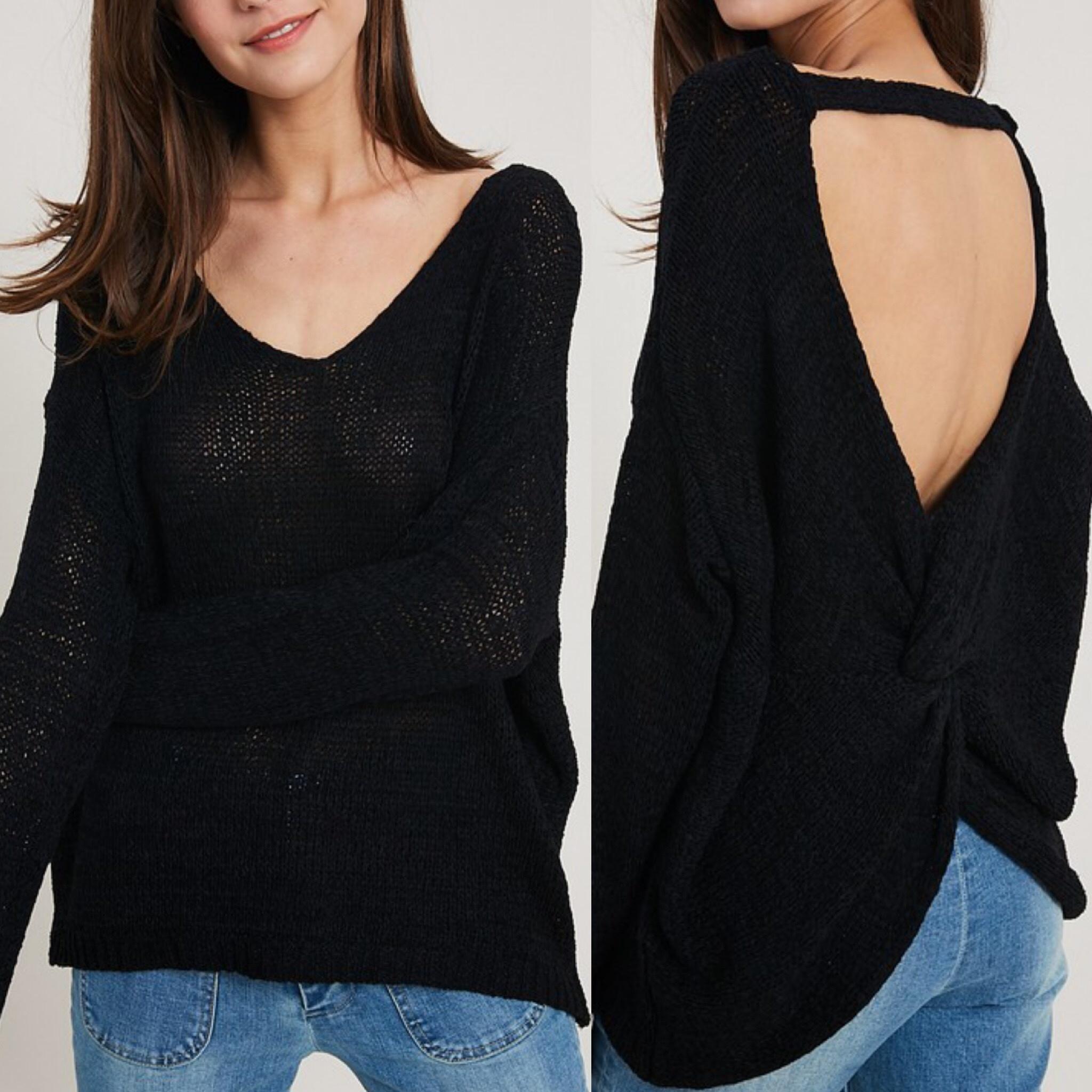 Open Back Lightweight Sweater - Black