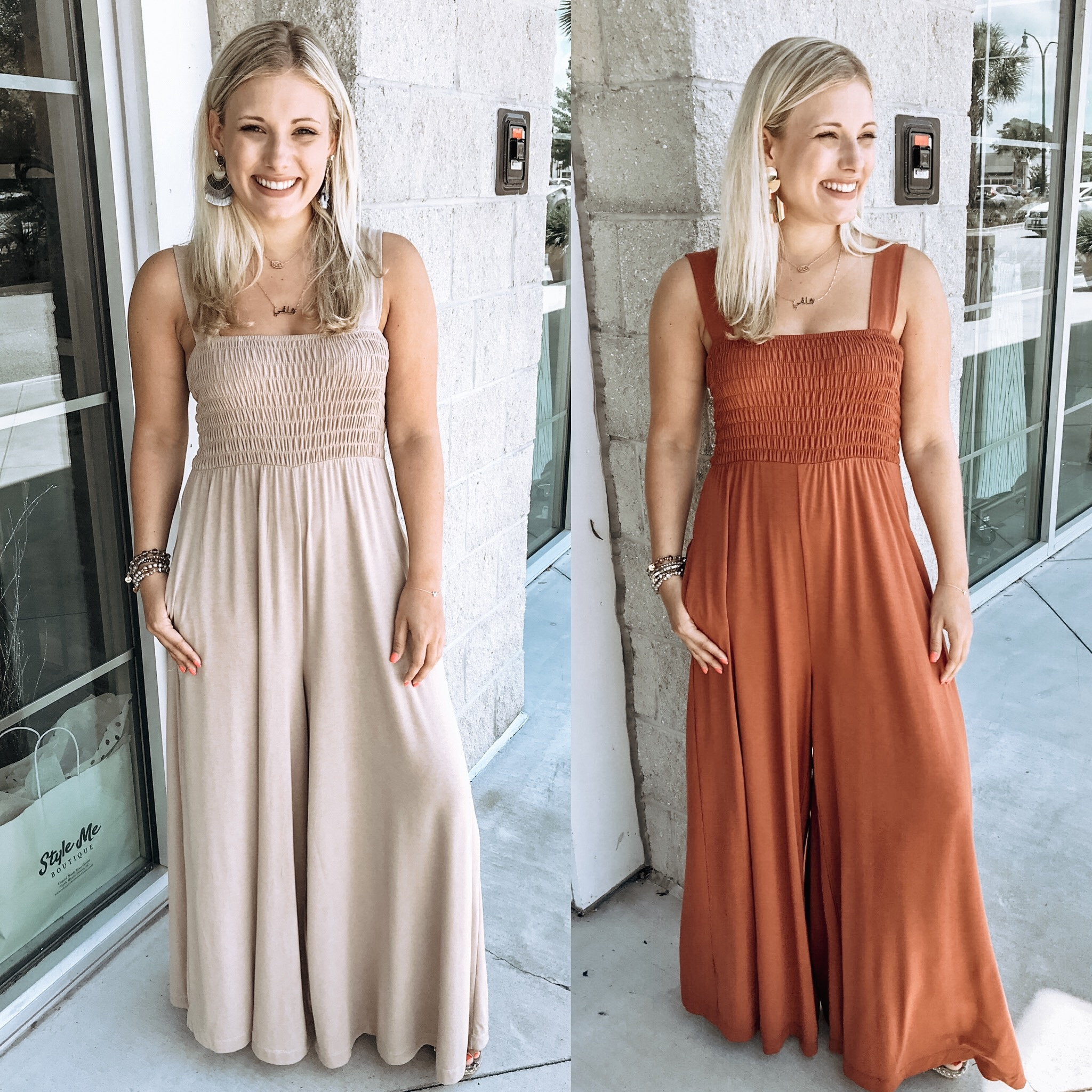 Smocked Bodice Jumpsuit