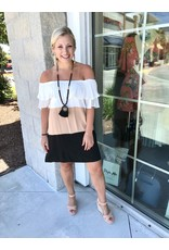 Color Block Off Shoulder Dress - Taupe