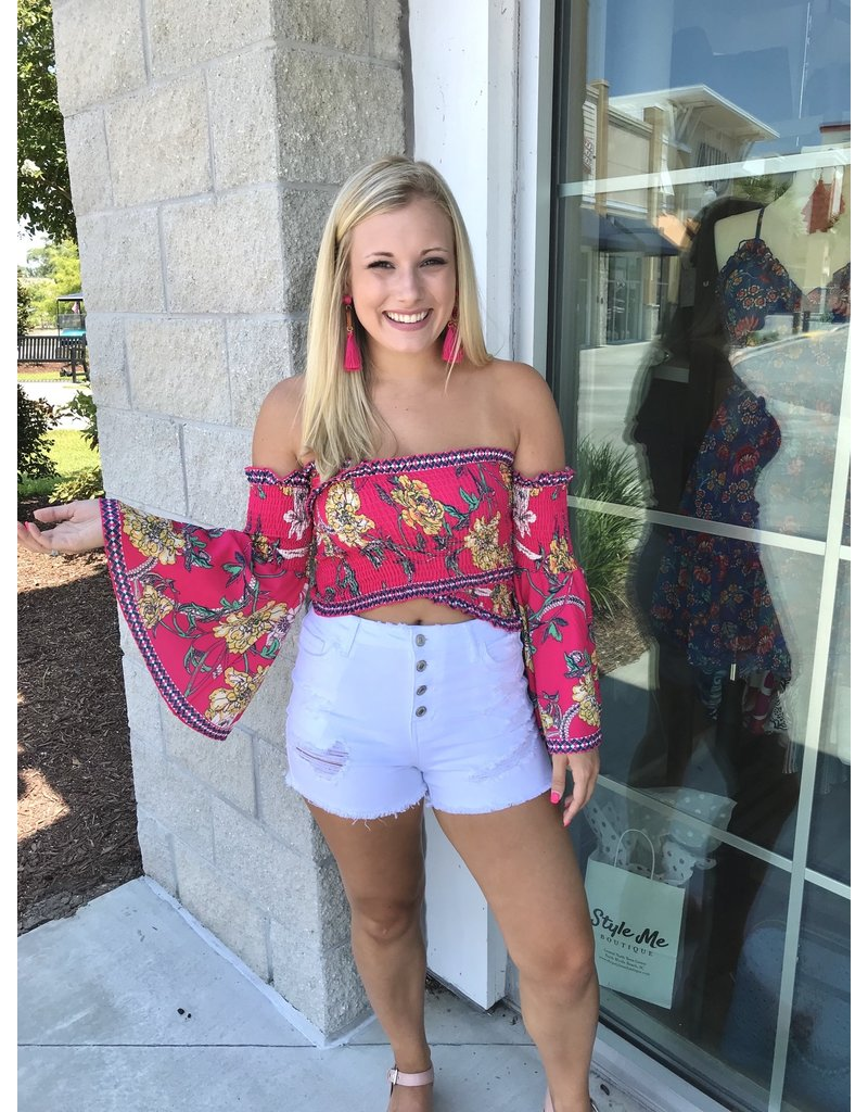Floral Cropped Top - Pink