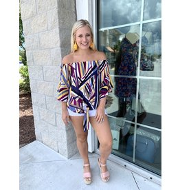 Abstract Print Off Shoulders Top - Purple
