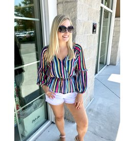 Striped Peplum Top - Blue
