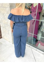 Off Shoulders Denim Jumpsuit - Medium Indigo